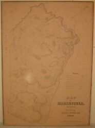 Antique 1838 John Ford And039map Of Marshfield Massachusettsand039 - First Map Of The Town