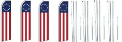 Betsy Ross Swooper Flag With Complete Hybrid Pole Set- 4 Pack