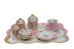 Antique French Vicennes Dresser Tray Set Ashtray Pink And Gold