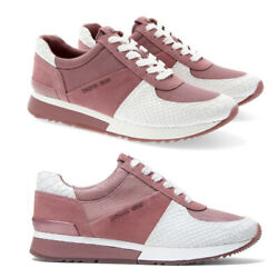 Michael Kors Women's Allie Trainer Embossed Leather Sneakers Shoes $112.79