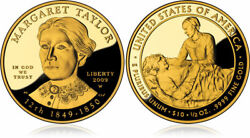2009-w Margaret Taylor First Spouse 1/2 Oz 9999 Proof Gold 10 Coin W Box Jab