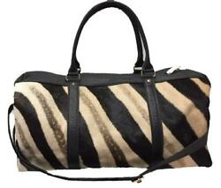 Genuine Burchell Zebra And Buffalo Hide Duffel / Overnight / Weekender Bag - Black