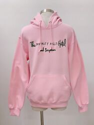 Brand New The Jinx Embroidered The Beverly Hills Hotel Pink Hoodie