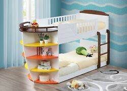 Twin/twin Bunk Bed With Storage Shelves, White And Chocolate - Solid Wood, Lvl,...