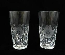 Pair Of Vintage Etched Floral Art Glass Cordial Or Shot Glasses Signed Good Cond