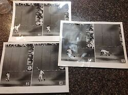 1954 World Series 3 Photos Willie Mays Famous Catch Seq. San Francisco Giants