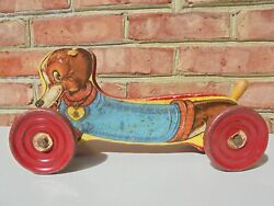 Antique Vintage Gong Bell Co Dachshund Dog Pull Toy Blue Sweater