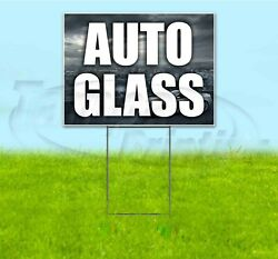 Auto Glass 18x24 Yard Sign With Stake Corrugated Plastic Bandit Lawn Usa