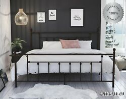 Metal Bed Frame King Farmhouse Iron Sturdy Modern Vintage Bronze Country Style