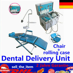 Dental Delivery Unit Rolling Case+Folding Mobile Chair+w/ Slow suction 4-H DHL