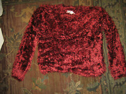 Red Eyelash Pull On Sweater. Non Shed. XS NWT $89