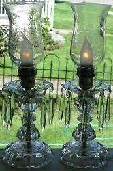 Vintage Pair Electrified Table Lamps W/crystal Prisms Hurricane Chimneys Etched