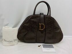Auth Christian Dior Brown Ostrich Leather Trotter Hand Bag Vintage 6f290280n
