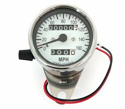 Motorcycle Mini Speedometer W/ Trip Meter - 224060 - Chrome And White - Mph