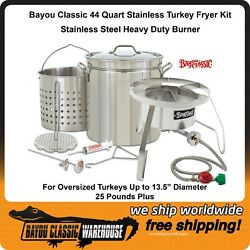Complete Big Huge Turkey Fryer Stainless Steel Kit 25+ Lb By Bayou Classic