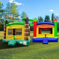 Inflatable Bounce House Duo Rainbow And Tropical Moonwalk Castle With 2 Blowers