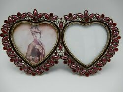 Vintage Double Heart Jeweled Enameled Metal Picture Frame 3 1/2 X 3 1/2