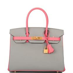 Hermes HSS Bi-Color Gris Mouette and Rose Azalee Epsom Birkin 30cm Brushed Gold