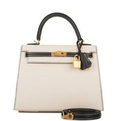Hermes HSS Bi-Color Craie & Black Epsom Sellier Kelly 25cm Brushed Gold Hardware