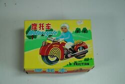 Red China Mf-115 Delivery Scooter Motorcycle Bike Friction Tin Toy Nice`60