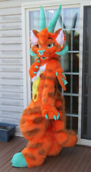 Factory Store Orange Dragon Long Fursuit Mascot Costume Fancy Dress Cosplay