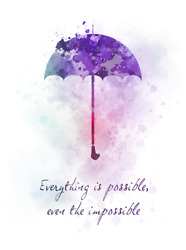 Art Print Mary Poppins Quote, Everything Is Possible, Umbrella, Nursery, Gift