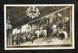 Rppc 1950s Giant Painting Parliament Conquest Of Hungary Budapest Hungary Pest