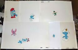 7 Hand Painted Smurfs Production Animation Cels Leprechaun Pussywillow Pixies
