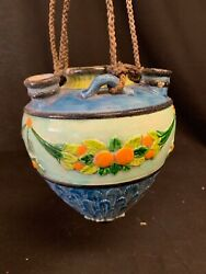 Ceramic Planter Made In Japan Blue/green With Flowers And Fruits