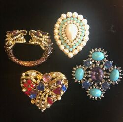 Stunning Lot Of 4 Vintage Brooches Pins