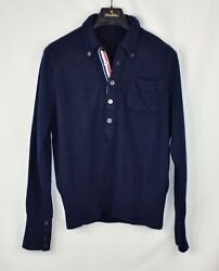 Brooks Brothers Black Fleece x Thom Browne Polo Sweater Blue Wool Popover BB2