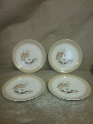 Vintage Set Of 4 Crowning Fashion Tawny Willows Salad Bread Plates