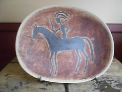 David Salk Pottery Platter With Native American Indian On Horse With Stand