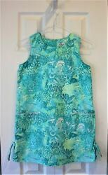 LILLY PULITZER Size 10 Girl's Classic Shift Dress SURFIN' SAFARI Green Jungle