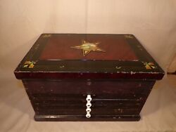 Rare Antique Machinists / Dentist Wood Tool Box Chest Cabinet Drawers 1800s