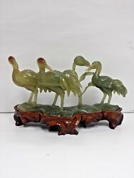 Chinese Jade Sculpture Carving Of Cranes On Wooden Stand