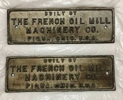Lot Of 2 Brass Metal Sign The French Oil Mill Machinery Company Ohio Usa 15lb.