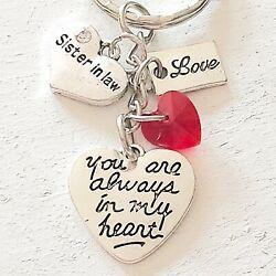 Sister In Law Gift Of Love You Are Always In My Heart Silver Charm Keychain