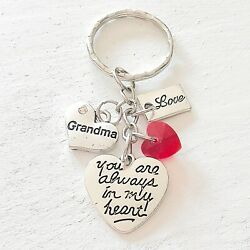 Grandma Gift Of Love You Are Always In My Heart Silver Charm Keychain