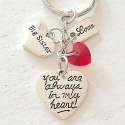 Big Sister Gift Of Love You Are Always In My Heart Silver Charm Keychain $10.96