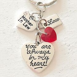 Mother In Law Gift Of Love You Are Always In My Heart Silver Charm Keychain