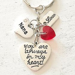 Nana Gift Of Love You Are Always In My Heart Silver Charm Keychain