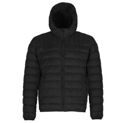 Men's Lm8on498 Red Tab Logo Hooded Quilted Packable Puffer Jacket