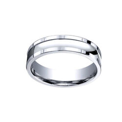 18k White Gold 6mm Comfort-fit Polished Squared Edge Carve Menand039s Band Ring Sz-12