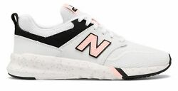 New Balance Women's 009 Shoes White with Black & Pink