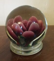 Vintage Purple Flower Water Lilly Glass Paperweight Polished Pontil