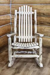 Log Rocking Chairs Rustic Wooden Porch Rockers Handmade Lodge Cabin Furniture