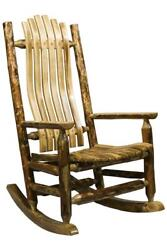 Log Rocking Chair Amish Made Porch Rockers Lodge Cabin Furniture Deck Chairs