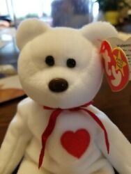 Ty Valentino Beanie Baby Bear Withandnbsp Many Errors Mint Condition Rare W /case 1984