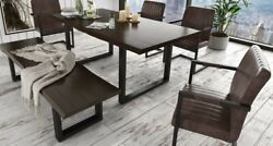 6-pc Dining Room Set Rectangle Table Leatherette Upholstery Comfortable Seat